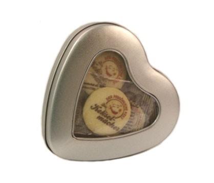 Metall-Herzdose mit 10 Keksen